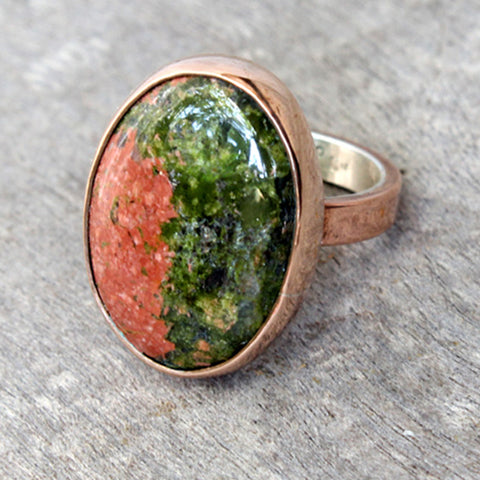 Copper Ring with Unakite