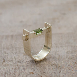 "Silver Ring ""U"" with Moldavite"