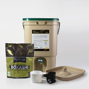 The Deluxe Bokashi Bucket Food Waste Fermenter Kit with 2 lb Bokashi