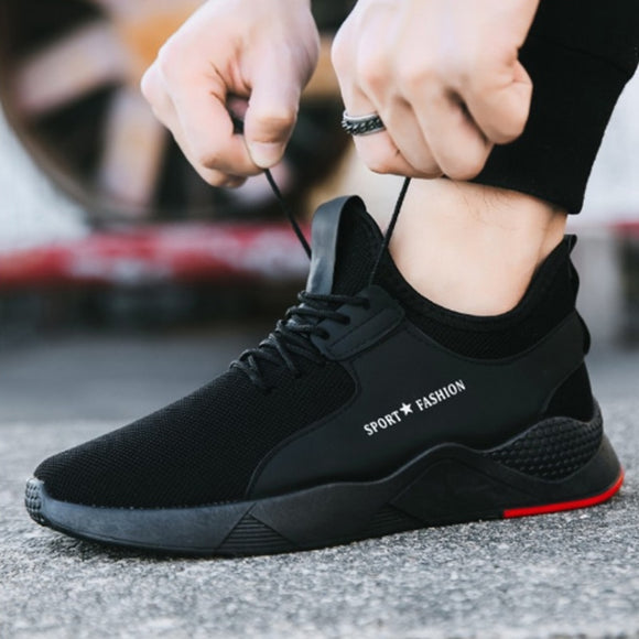WENYUJH Torridity Black Men Vulcanize Shoes Breathable Casual Sports Male Sneakers Mesh Trainers -up Flat Shoes Plus 39-44