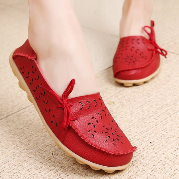 Women Flats 2019 Moccasins Women Leather Shoes Mother Loafers Casual Female shoes woman Driving Ballet Footwear slip on