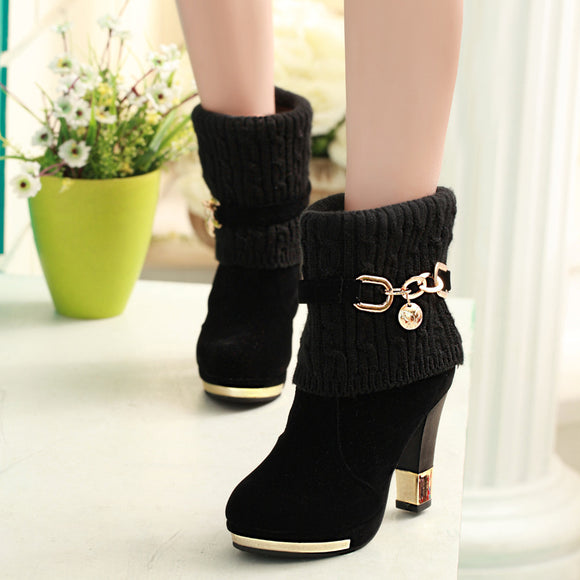 ZHENZHOU winter new thick with shoes women's boots high-heeled female boots frosted wool in the Martin boots women Women's shoes