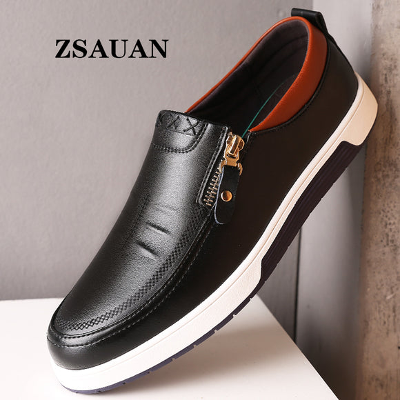 ZSAUAN Dropshipping Men Leather Casual Shoes Zip Office Men Loafers Sneakers Spring/Autumn Flats Mocassin Homme Large Size 38-47