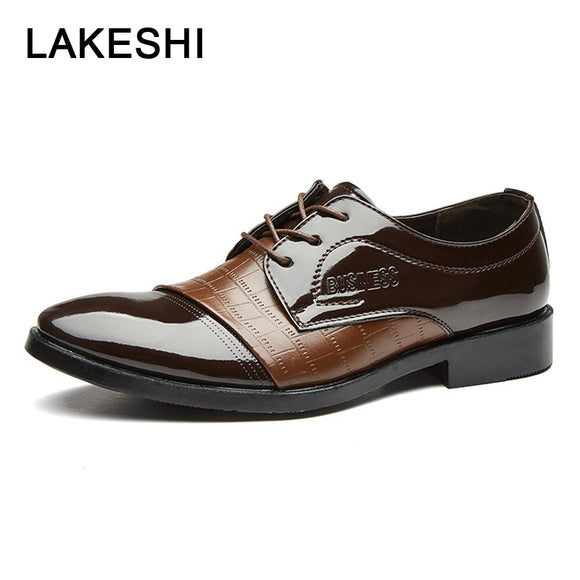 Hot Genuine Leather Shoes Wedding Shoes Men's Dress Shoes Flat Business Office Lace-up Footwear New Formal Shoes Men Oxfords