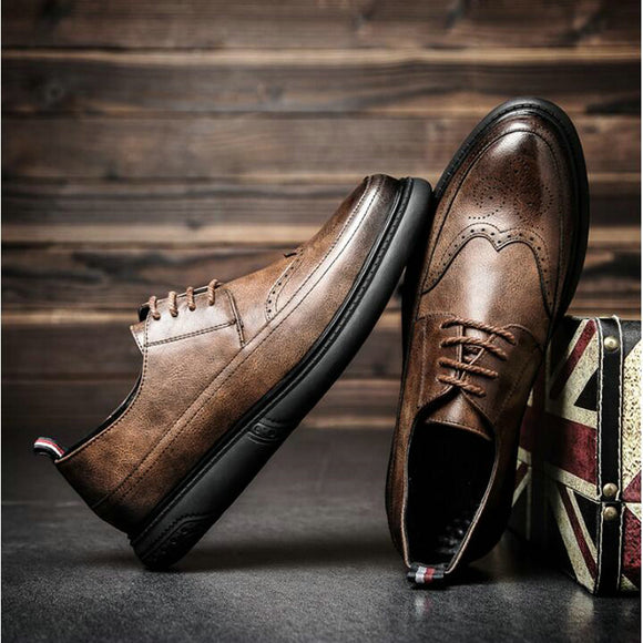 New Arrival  Retro Bullock Design Men Classic Business Formal Shoes Pointed Toe leather shoes Men Oxford Dress Shoes  LL-59Z