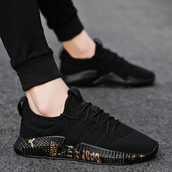 Fashion Men Shoes Leisure Summer Super Light Breathable Woven Mesh Shoes Star Black Casual Shoes Men Sneakers Soft Mens Trainers
