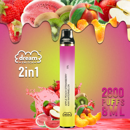 Disposable Dream Switch 2in1, Apple Peach Strawberry / Kiwi Water melon8.0ml 2600 Puffs Vape