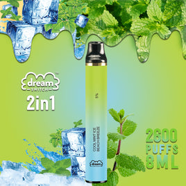 Disposable Dream Switch 2in1, 8.0ml 2600 Puffs Vape, Cool Mint ICE  / Beach Breeze