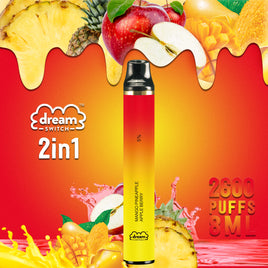 Disposable Dream Switch 2in1, 8.0ml 2600 Puffs Vape, Mango PineApple / Apple Berry