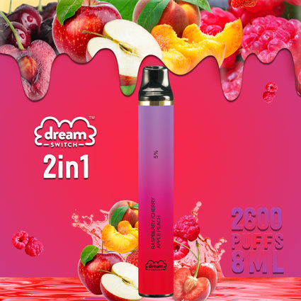 Disposable Dream Switch 2in1, Raspberry Cherry / Apple Peach , 8.0ml 2600 Puffs Vape