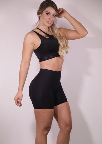 Cold Shoulder Black Sports Bra