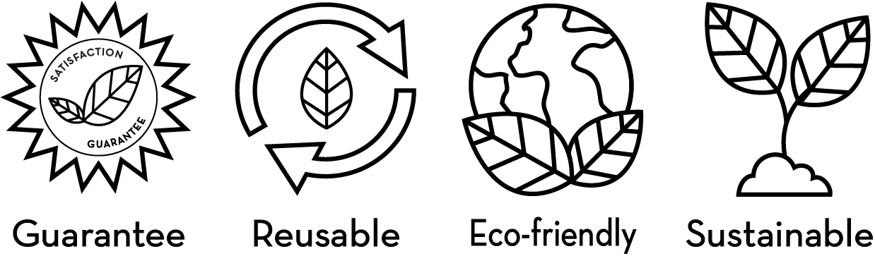 100% satisfaction guarantee, reusable, eco-friendly and sustainable logos