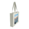 Side view of a medium tote bag featuring sunrise photography over Bondi Icebergs Pool