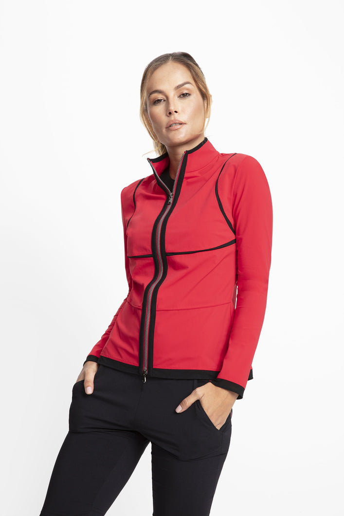 Slim fit High collar that can be worn folded or zipped into a funnel neck Two-way zip front closure Full-length sleeves Side zip pockets at hips Mesh insert detailing at the bodice and shoulder Slightly extended length hits just below the waist Wrinkle-resistant, lightweight, easy to pack Imported Super Jersey: 94% polyester / 6% elastane Imported Honiara: 94% polyester / 6% elastane