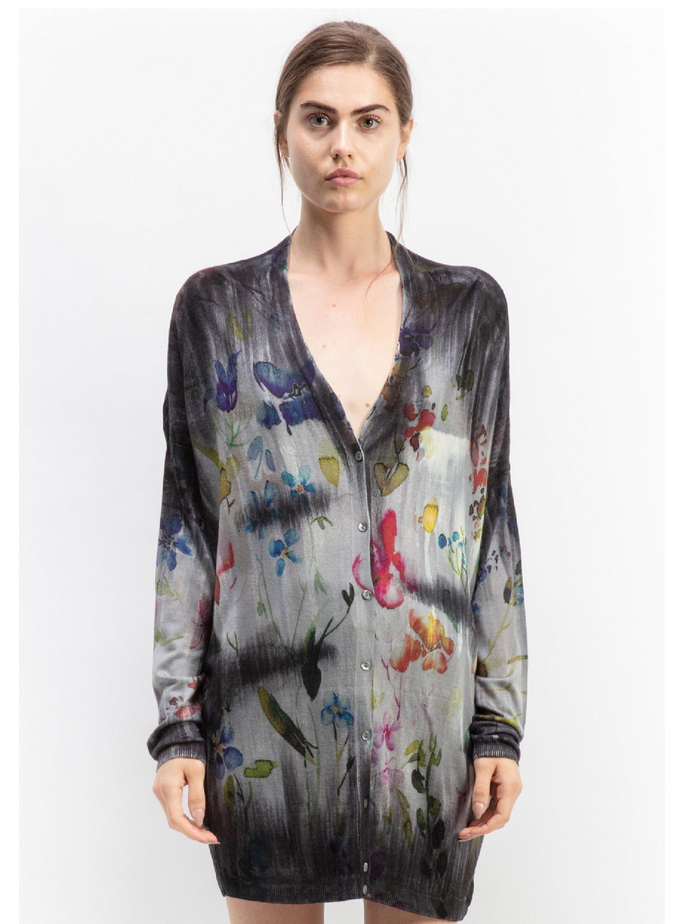 Flower print with brushes v neck long cardigan with back tapestry   100% silk