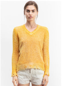 V Neck Brushed Cotton Pullover