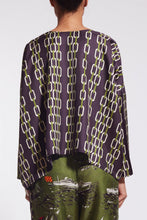 Load image into Gallery viewer, Short and reversible top  Long sleeves tightened.  Round neck.  100% silk twill