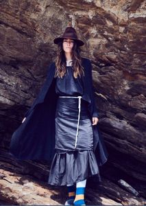 Andrea dress in the color coal & coat in the color platinum and linen.