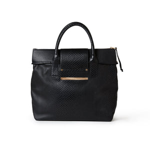 Alessia Large Boa Tote Embossed Black