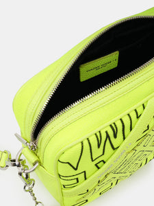 Fluorescent yellow Star Bag in canvas with Sneakers Maker print