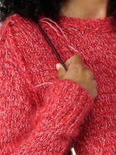 Load image into Gallery viewer, Melange red Annamaria pullover with pin