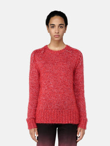 Melange red Annamaria pullover with pin