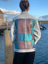 Load image into Gallery viewer, Handmade one of a kind denim jacket. Reclaimed and repurposed.  Patchwork Retro Vintage Unisex