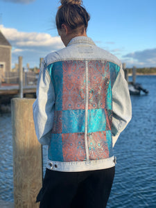 Handmade one of a kind denim jacket. Reclaimed and repurposed.  Patchwork Retro Vintage Unisex