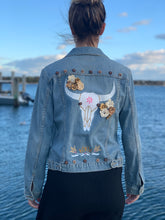 Load image into Gallery viewer, Handmade one of a kind denim jacket. Reclaimed and repurposed.  Western Animal Skull Flowers Wooden Beads Hand painted