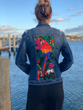 Load image into Gallery viewer, Handmade one of a kind denim jacket. Reclaimed and repurposed. Parrot Colorful  Tropical print