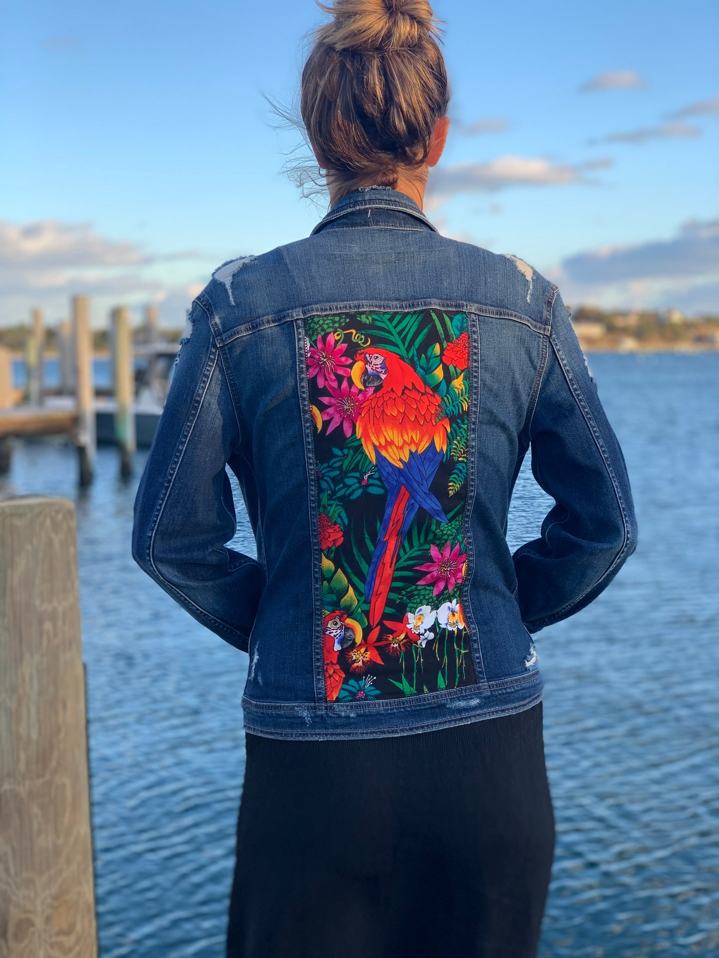 Handmade one of a kind denim jacket. Reclaimed and repurposed. Parrot Colorful  Tropical print