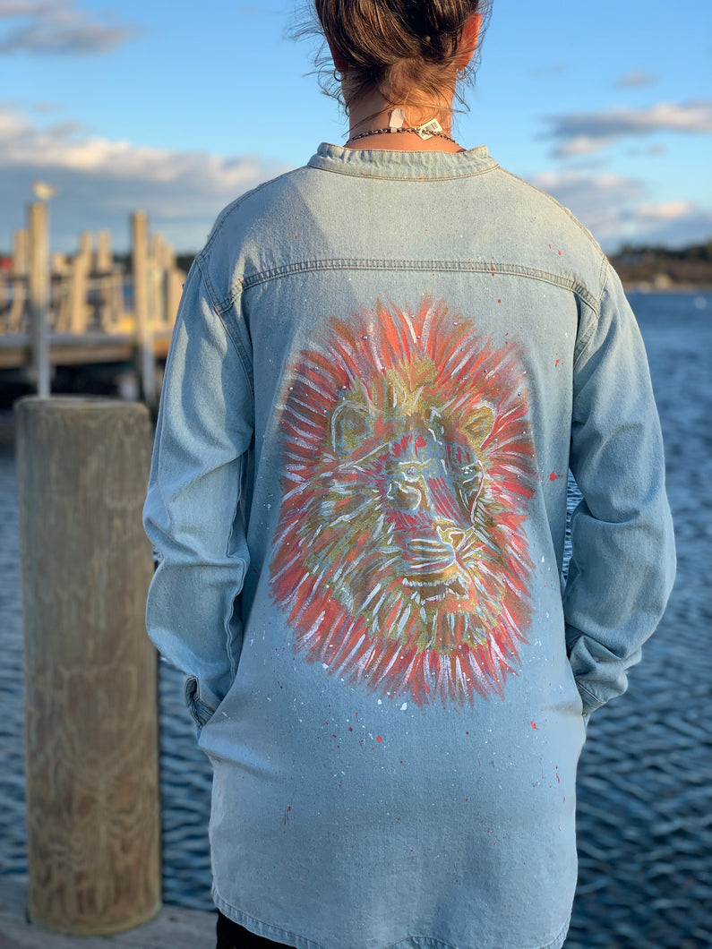 Handmade one of a kind denim jacket. Reclaimed and repurposed.  Hand painted Lion Swarovski crystals  Vibrant  Colorful Texture