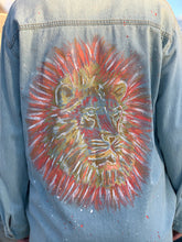Load image into Gallery viewer, Handmade one of a kind denim jacket. Reclaimed and repurposed.  Hand painted Lion Swarovski crystals  Vibrant  Colorful Texture