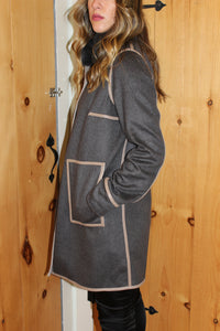 Loro Piana, double cashmere coat with mink fur trim  Reversible   Attributes: Sand Moro, Azzuro-Blu  Made in Italy