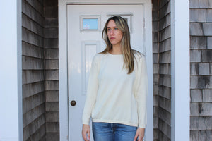 Cream scoop neck sweater 100% cashmere  Made in Italy