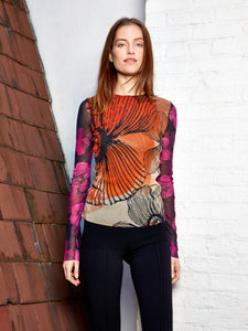 T-Shirt M/L - Mixed floral deco tulle crew neck long sleeve T-Shirt Multicolor 595  PRE ORDER NOW! Available 6/15/2021