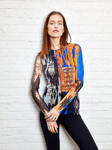 T-shirt M/L - Ikea geo print patchwork long sleeve crew neck top  Patchwork 104  PRE ORDER NOW! Available 6/15/2021