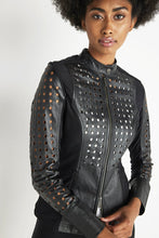 Load image into Gallery viewer, Designed for the bold, the Loretta Perforated Leather Women's Travel Jacket is the perfect elevated essential to add to any travel-ready collection. This stylish piece features a timeless slim fit with a high collared neckline and a snap-button closure. Perforated leather throughout adds an edgy feel to this wear-anywhere design, pairing perfectly with stretchy and cozy fleece panels and designer seaming for a slimming and sophisticated design that can take you anywhere.