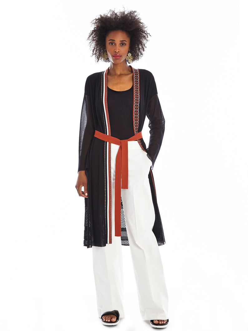 Nero striped cardigan with red belt