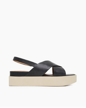 Load image into Gallery viewer, Leather crossover platform sandals, the Serena wedge features an elasticated slingback strap, crossover straps to the front, and a creamy white platform sole.