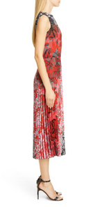Fuzzi Dégradé Floral Pleated Midi Dress
