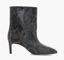 Load image into Gallery viewer, Paris Texas python printed leather mid heel ankle boots  Snake print leather above the ankle  Point form, medium heel  Heel height 60 mm  Made in Italy   100% Leather
