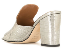 Load image into Gallery viewer, gunmetal  leather  metallic finish  embossed crocodile effect branded insole slip-on style mid block heel Made in Italy