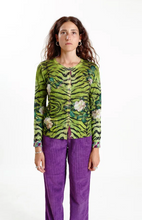 Load image into Gallery viewer, Color: Floral and animal print  Composition: 100% Merino wool  Description: Reversible crew neck cardigan with pockets, regular fit  Care: Hand wash