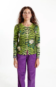 Color: Floral and animal print  Composition: 100% Merino wool  Description: Reversible crew neck cardigan with pockets, regular fit  Care: Hand wash