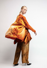 Load image into Gallery viewer, V neck long cardigan with flower printed silk on the back  Marmalade  Pre order now! Receive your order by May 15th, 2021 the latest.