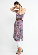 Load image into Gallery viewer, Flowered print silk dress with shadows   Gallnut  Pre order now! Receive your order by May 15th, 2021 the latest.