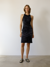 Load image into Gallery viewer, Knee length classic jersey racerback dress in a hand dyed black tie dye.  Material: 100% Cotton / Hand Wash