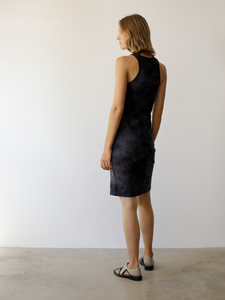 Knee length classic jersey racerback dress in a hand dyed black tie dye.  Material: 100% Cotton / Hand Wash