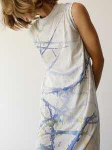 Pima jersey mock dress in a hand painted violet tie dye. Slightly sheer.  Material: 100% Cotton / Hand Wash